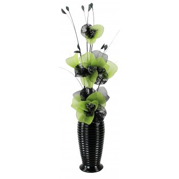 Creative Florals Mesh -Green & Black