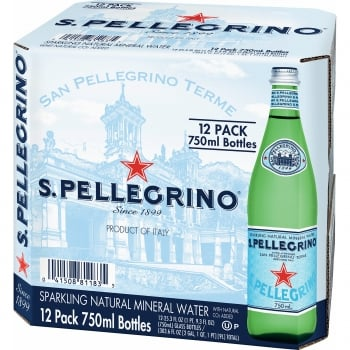 S. Pellegrino Sparkling Natural Mineral Water - 750 ml X 12 Glass Bottles