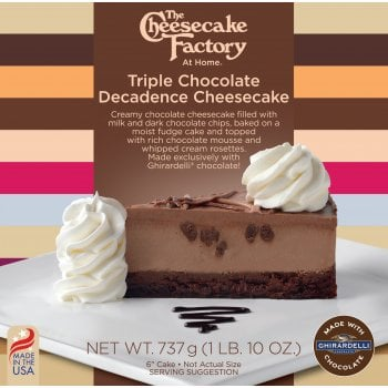 """The Cheesecake Factory At Home 6"""" Triple Chocolate Decadence Cheesecake Made With Ghirardelli® ( Uncut )"""