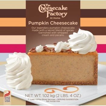 """The Cheesecake Factory At Home 7"""" Pumpkin Cheesecake ( 8 Pre-Sliced )"""