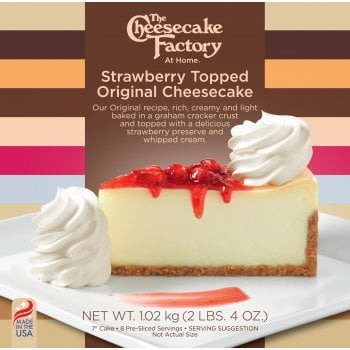 """The Cheesecake Factory At Home 7"""" Strawberry Topped Original Cheesecake ( 8 Pre-Sliced )"""